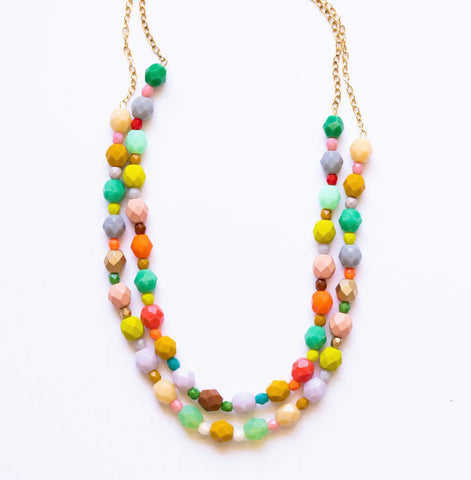 Colorful double strand necklace