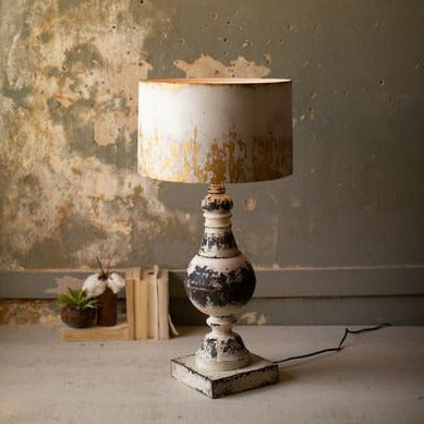 Distressed Metal Table Lamp