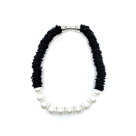 Black Spring Ring Necklace with White Mother of Pearl Beads
