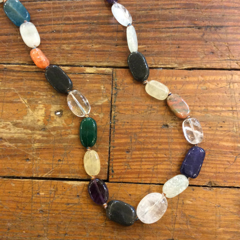 Dainty Mixed Agates Long Strand Necklace