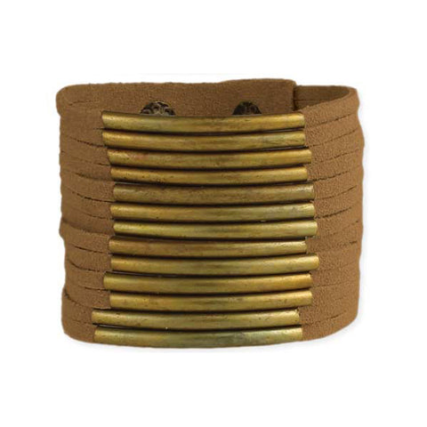 Suede & Gold Bar Cuff Bracelet - Tan