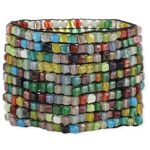 Wide Mosaic Bead Stretch Bracelet