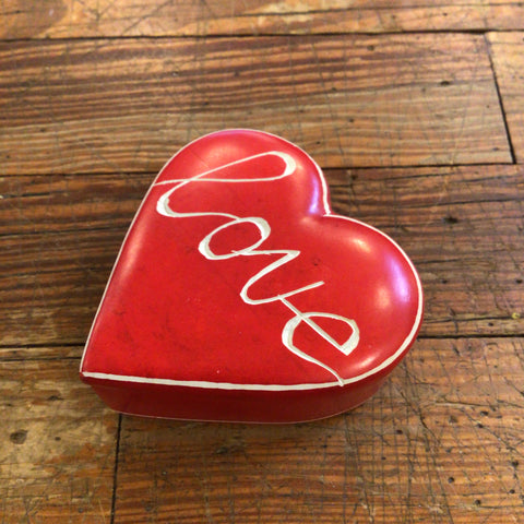 "Small Red Cursive ""Love"" Soapstone Heart Box"