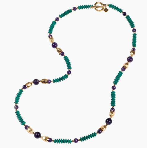 Amethyst and Turquoise Long Lotus Necklace