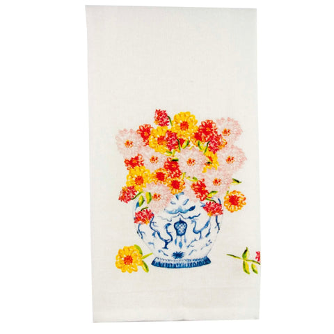 Ginger Jar with Zinnias Dish Towel