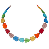 Chakra Frosted Glass Choker Necklace - Rainbow
