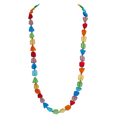 Chakra Frosted Glass Long Necklace - Rainbow