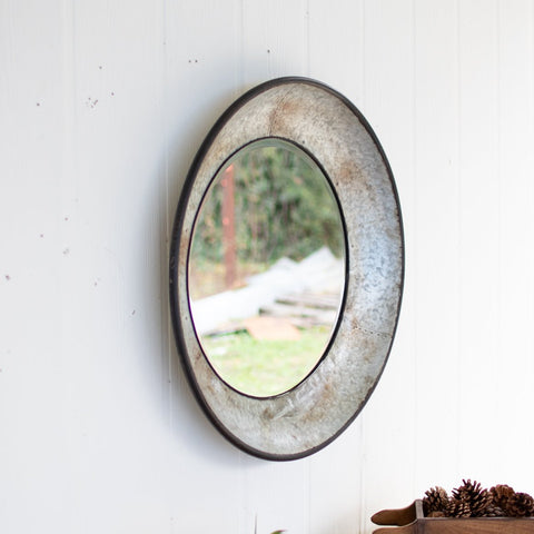 Large Round Metal Mirror - Natural Metal