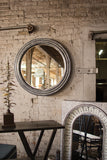 Large Round Metal Mirror - White Washed