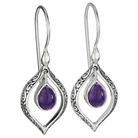 Filigree Drop Earrings - Amethyst
