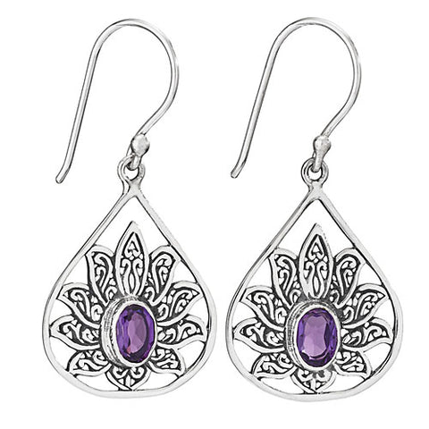 Lotus Earrings - Amethyst