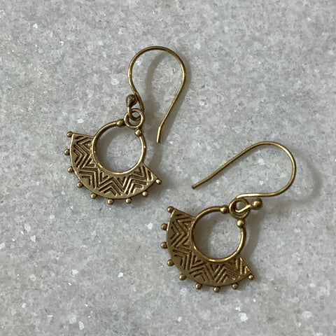 Tiny Zig Zag Brass Earrings