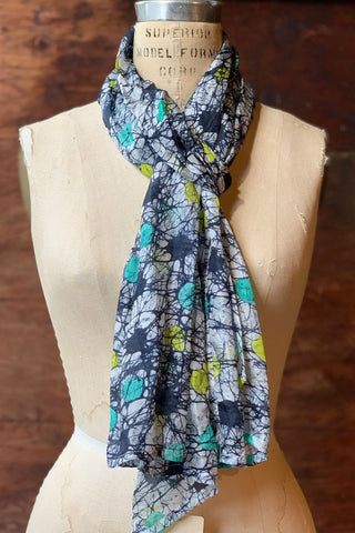 Navy Grey Abstract Silk Scarf