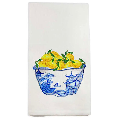 Blue Bowl with Lemons Dish Towel