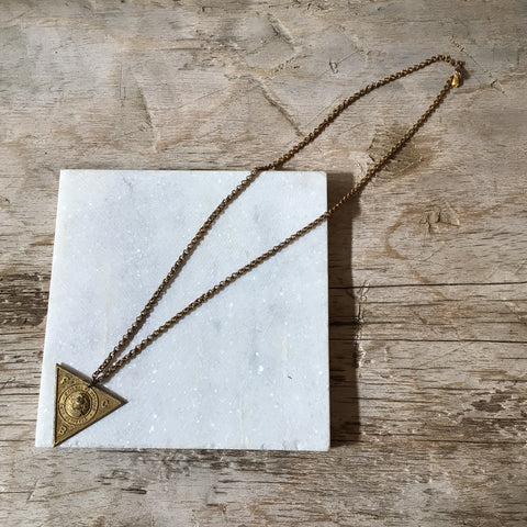 Vintage gold triangle pendent necklace