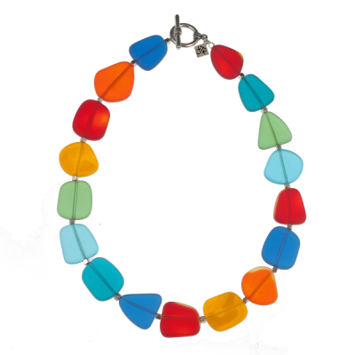 Frosted Glass Necklace Choker - Rainbow
