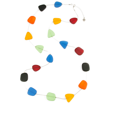 Multicolored Frosted Glass Shapes on Silver- Plated Wire Necklace - Long