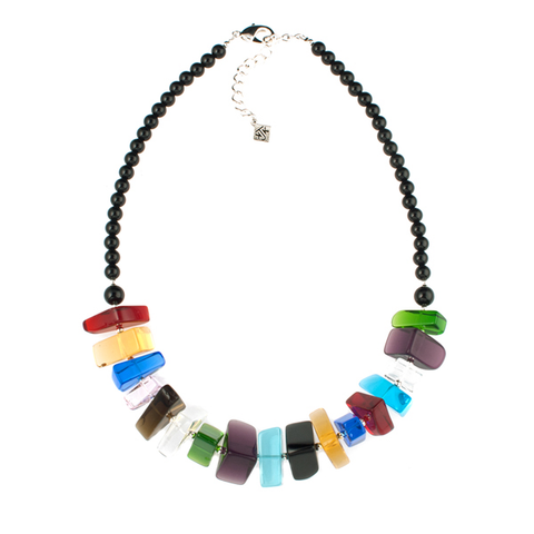 Multicolor Quartz and Onyx Necklace
