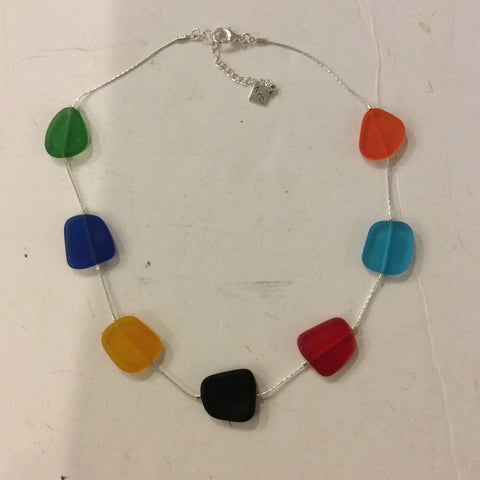 Frosted Glass Choker Necklace - Rainbow