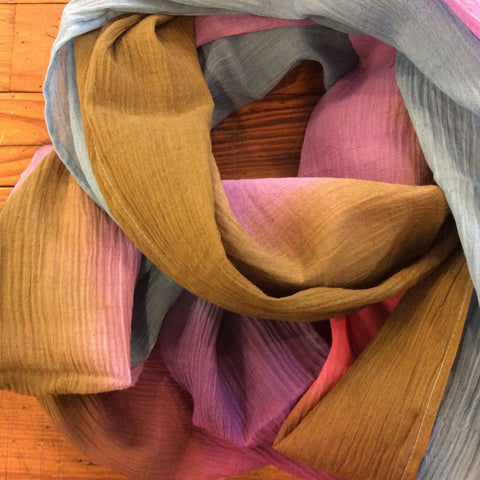 Ombre Color Block Scarf - Purple / Pink