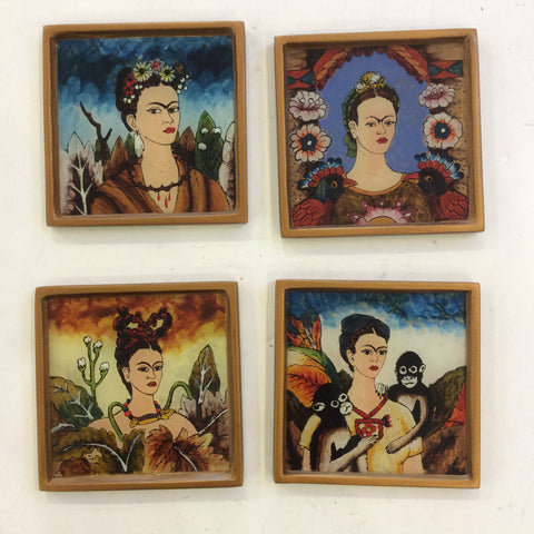 Set of 4 Reverse Painted Coaster from Peru - Frida