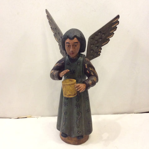 Carved Wooden Santo from Guatemala - Angel with Drum