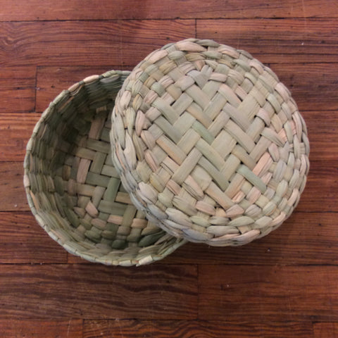 Palm Leaf Tortilla Basket Box with Lid from Mexico