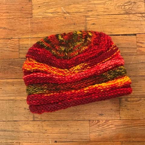 Knit Wool Nepalese Hat - Red