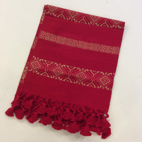 Guatemalan Woven Table Runner with Tassels - Gold on Red