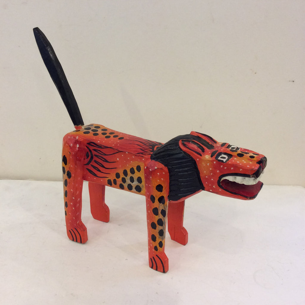 Carved and Painted Wooden Orange Lion from Guatemala