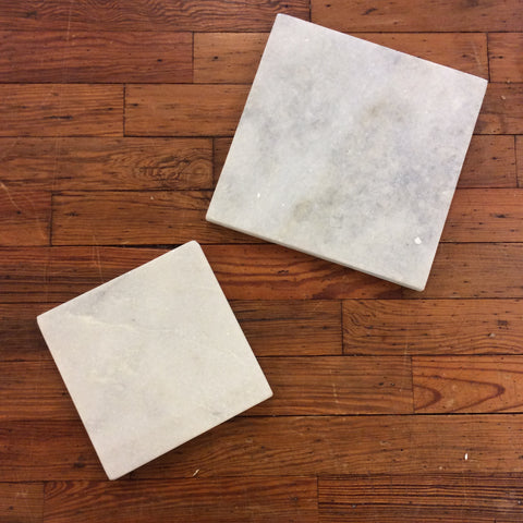 Rustic White Square Marble Base