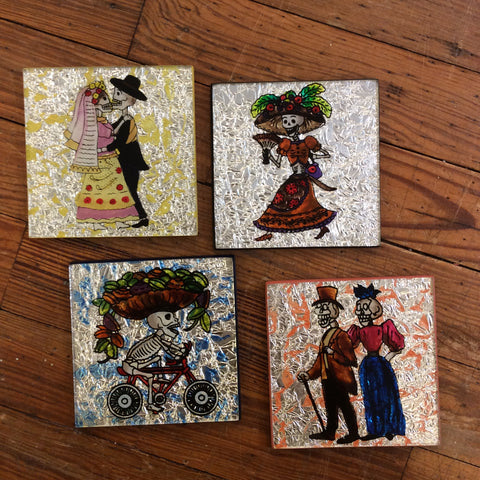 Glass Foil Coasters - Day of the Dead