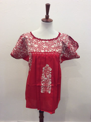 San Antonino Blouse Top from Mexico - Red
