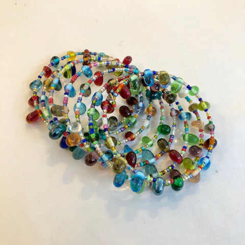 Multicolored Glass Tear Drops Coil Bracelet