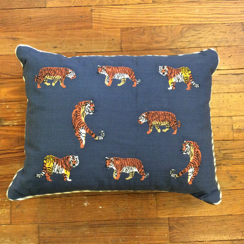 Navy Tiger Embroidered Pillow