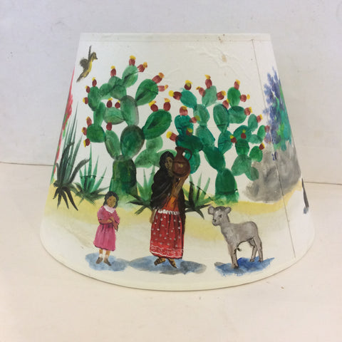 Mexican Countryside Painted Lampshade - Medium