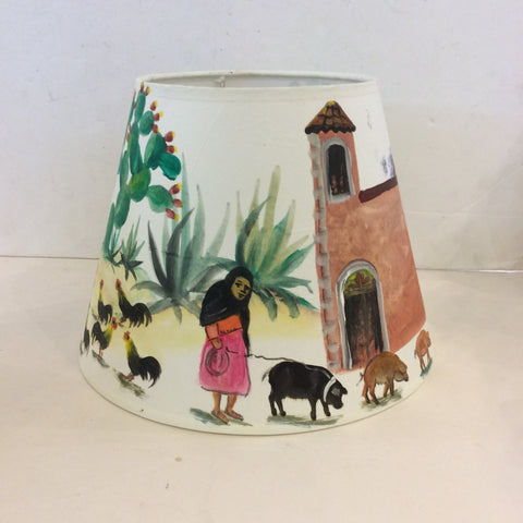Mexican Countryside Painted Lampshade - Small