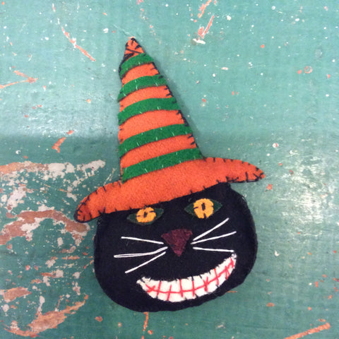 Black Cat With Orange Hat Ornament