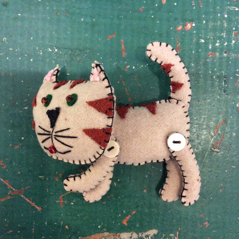 Brown Cat Felt Ornament