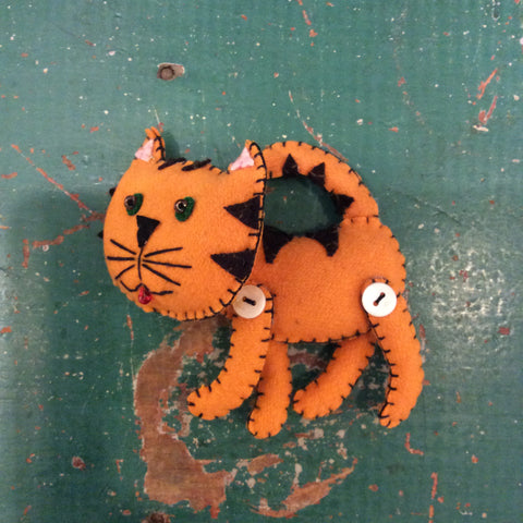 Orange Cat Felt Ornament