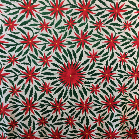 X-Large Otomi Embroidery Wall Hanging - Poinsettias Flowers 2