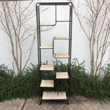 Multi Level Wood and Metal Shelving Unit Shelf Bookcase