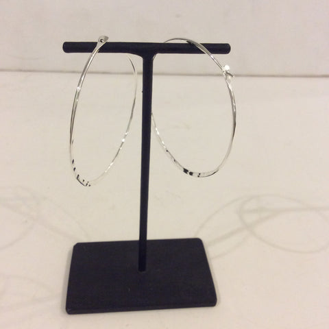 Hammered Sterling Silver Hoop Earrings - Extra Large