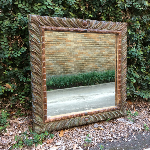 Carved Wood Green Frame Mirror from Guatemala