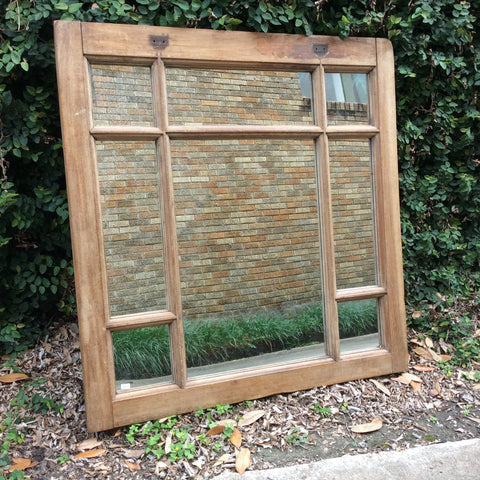 Square Wood Window Frame Mirror from Guatemala