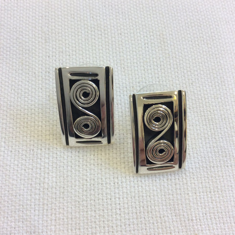 Taxco Silver Earrings - Rectangle with Spirals