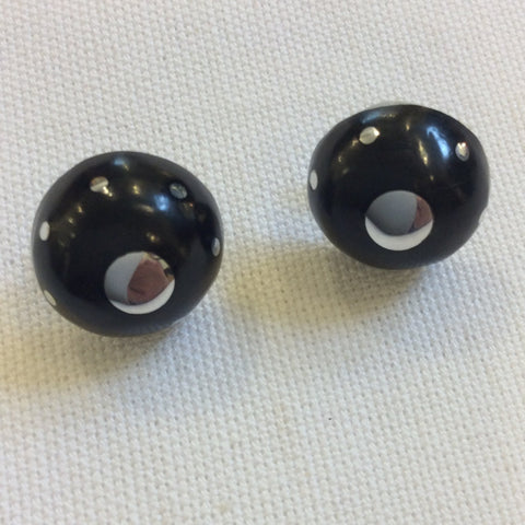 Taxco Silver Earrings - Ebony Round Stud