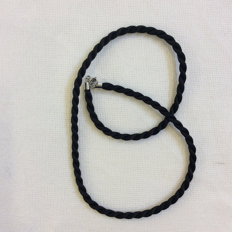 Taxco Silver Tipped Black Cord Necklace