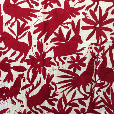 Large Otomi Embroidery Wall Hanging - Red