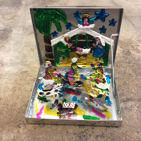 Tin Stand Up with Magnets Nativity Scene in a Box (Small)